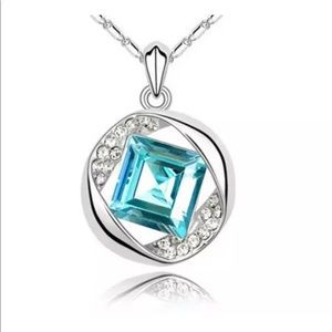 Silver Turquoise CZ Necklace